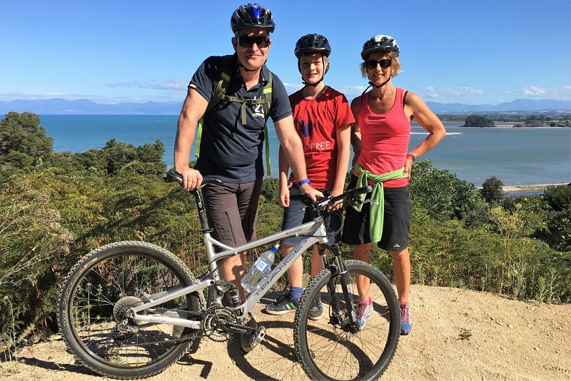 Chris mountain biking Jaws, Kaiteriteri Mounatin bike park