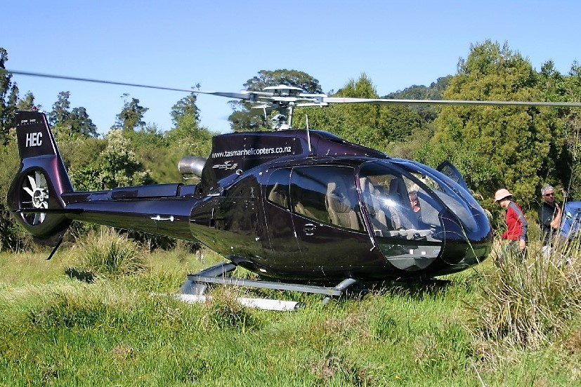 Helicopter in Nelson region National Park
