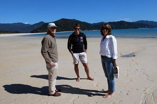 Abel Tasman Walking On Awaroa Beach